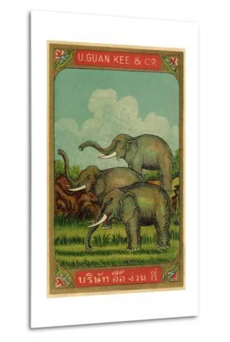 Thai Cotton Label with Elephants--Metal Print