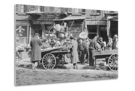 People Shopping around Push Cart--Metal Print