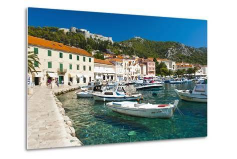 Hvar Harbour and Fortica (Spanish Fortress)-Matthew Williams-Ellis-Metal Print