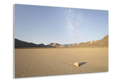 Sliding Stone of Racetrack Playa, Taken at Night by Moonlight, with Milky Way, Death Valley, USA-Mark Taylor-Metal Print