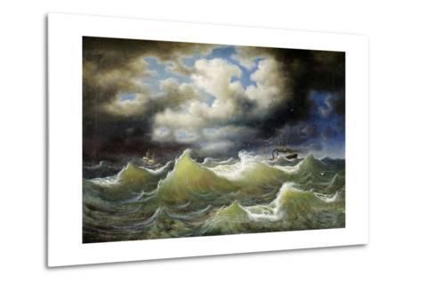 Steamboat on Stormy Water-Johan Knutson-Metal Print