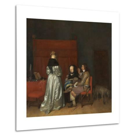 Three Figures Conversing in an Interior, known as 'The Paternal Admonition,'-Gerard ter Borch-Metal Print