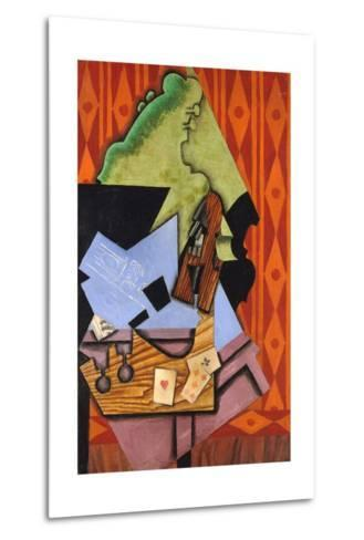 Violin and Playing Cards on a Table-Juan Gris-Metal Print