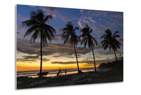 Palm Trees at Sunset on Playa Guiones Surfing Beach-Rob Francis-Metal Print