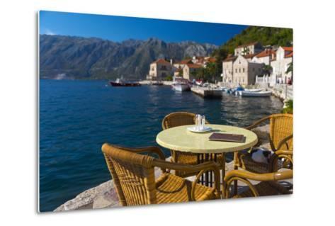 Montenegro, Bay of Kotor, Perast, Waterside Cafe-Alan Copson-Metal Print