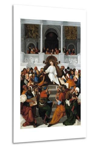 The Twelve-Year-Old Jesus Teaching in the Temple-Ludovico Mazzolino-Metal Print
