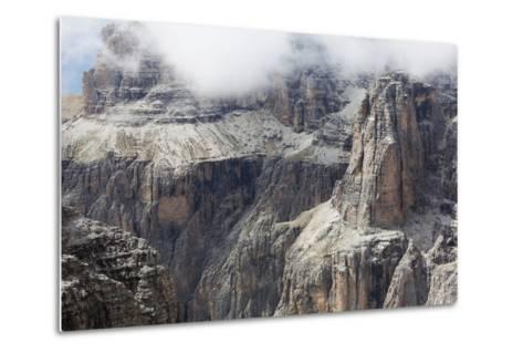 Cloud on the Dramatic Sass Pordoi Mountain in the Dolomites Near Canazei-Martin Child-Metal Print