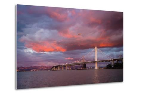 Fiery Clouds and Jet Plane at Bay Bridge, Oakland--Metal Print