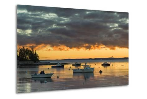Maine, Newagen, Sunset Harbor View by the Cuckolds Islands-Walter Bibikow-Metal Print