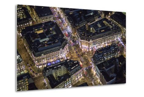 Night Aerial View of Oxford Circus, London, England-Jon Arnold-Metal Print