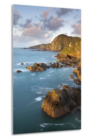 St Nicholas Chapel and Beacon Point on the Rocky Coast of Ilfracombe, Devon, England. Spring-Adam Burton-Metal Print