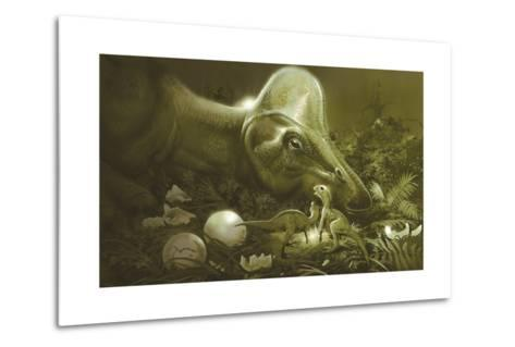 Hypacrosaurus Protecting its Nest and Newborn Hatchlings-Stocktrek Images-Metal Print