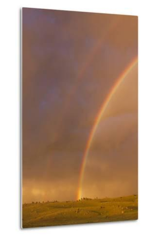 Wyoming, Sublette County, Double Rainbow in Stormy Sky-Elizabeth Boehm-Metal Print