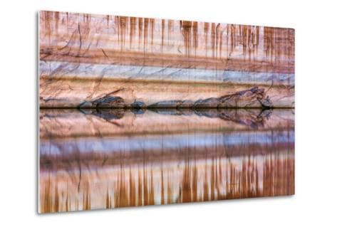 Utah, Glen Canyon Nra. Abstract Reflection of Stained Sandstone Wall-Jaynes Gallery-Metal Print