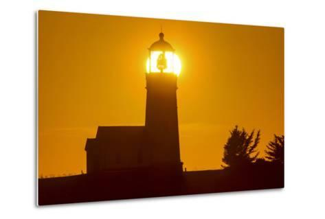 Setting Sun Behind Oregons Oldest Lighthouse at Cape Blanco Sp, Oregon-Chuck Haney-Metal Print