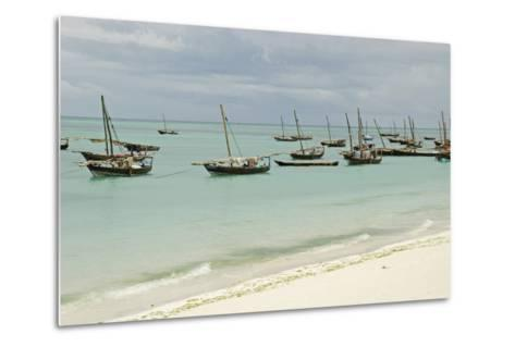 Tanzania, Zanzibar, Nungwi, Traditional Fisherman Boat on White Beach-Anthony Asael-Metal Print