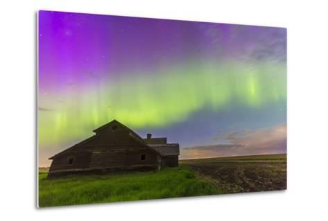 Purple Aurora over an Old Barn in Southern Alberta, Canada-Stocktrek Images-Metal Print