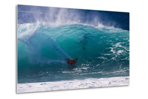 USA, Hawaii, Oahu, Surfers in Action at the Pipeline-Terry Eggers-Metal Print