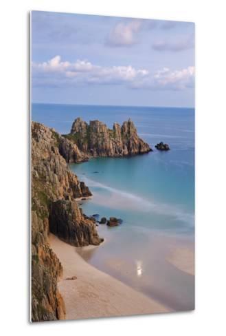 Pednvounder Beach and Logan Rock from the Clifftops Near Treen, Porthcurno, Cornwall-Adam Burton-Metal Print