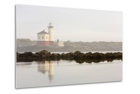 Coquille River Lighthouse in Morning Fog in Bandon, Oregon, USA-Chuck Haney-Metal Print