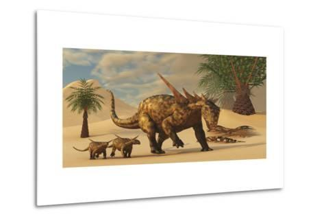 A Sauropelta Mother Leads Her Offspring in a Desert Area of North America-Stocktrek Images-Metal Print
