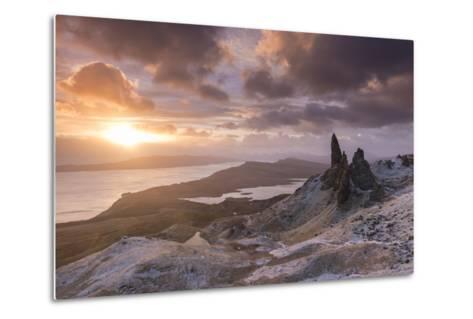 Spectacular Sunrise over the Old Man of Storr, Isle of Skye, Scotland. Winter (December)-Adam Burton-Metal Print