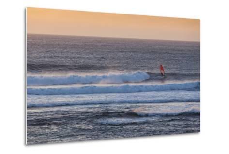Southwest Australia, Prevelly, Surfers Point, Windsurfers, Dusk-Walter Bibikow-Metal Print