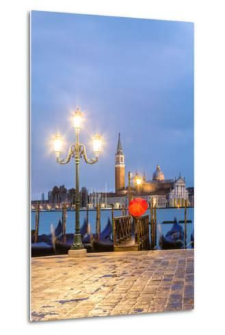 Italy, Veneto, Venice. Woman with Red Umbrella on Riva Degli Schiavoni at Dawn (Mr)-Matteo Colombo-Metal Print