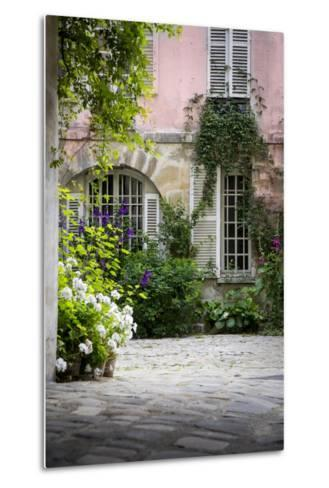 Flowery Building Courtyard in Saint Germaine Des Pres, Paris, France-Brian Jannsen-Metal Print