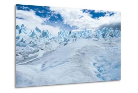 Detail of Perito Moreno Glacier with Clouds, Patagonia, Argentina-James White-Metal Print