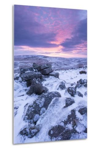 Beautiful Sunrise over a Frozen Snow Covered Moorland-Adam Burton-Metal Print