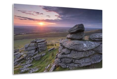Beautiful Sunset over Arms Tor, Dartmoor, Devon, England. Summer (August)-Adam Burton-Metal Print