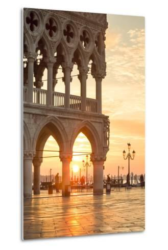 Italy, Veneto, Venice. Sunrise over Piazzetta San Marco and Doges Palace-Matteo Colombo-Metal Print