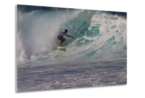 Hawaii, Oahu, Surfers in Action at the Pipeline on the Coast-Terry Eggers-Metal Print