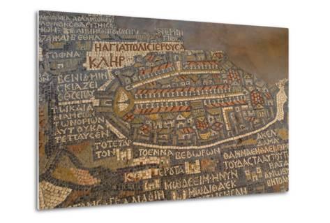 Madaba Mosaic Map. Detail of Jerusalem, 542-570--Metal Print