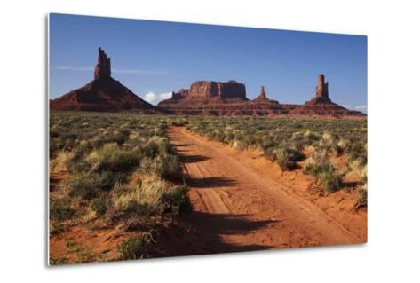 Navajo Nation, Monument Valley, Sunrise over Mitten Rock Formations-David Wall-Metal Print