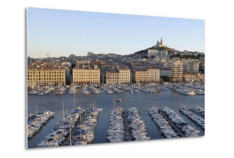 France, Marseille. Vieux Port with Basilique Notre Dame De La Garde-Kevin Oke-Metal Print