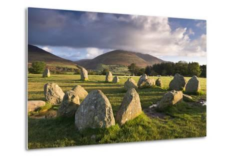 Castlerigg Stone Circle with Blencathra Mountain Behind, Lake District, Cumbria-Adam Burton-Metal Print