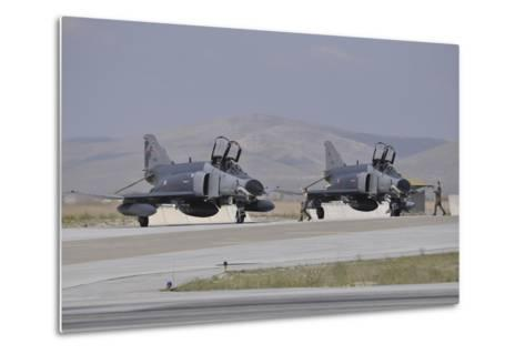 Two Turkish Air Force F-4E 2020 Terminator Aircraft Standby with Crew Chiefs-Stocktrek Images-Metal Print