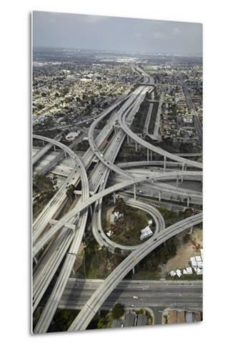 Los Angeles, Aerial of Judge Harry Pregerson Interchange and Highway-David Wall-Metal Print