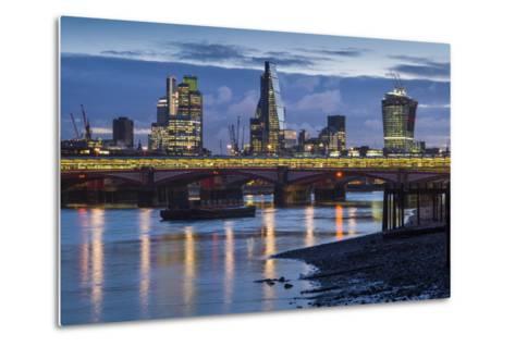 England, London, City, Skyline from Blackfriars Bridge, Dawn-Walter Bibikow-Metal Print
