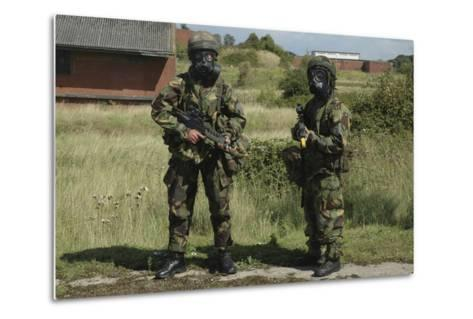 Two British Soldiers in Full NBC Protection Gear-Stocktrek Images-Metal Print