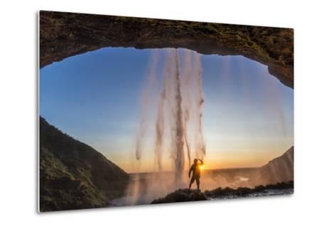 Man Behind Seljalandsfoss Waterfall, Suourland (South Iceland), Iceland-Peter Adams-Metal Print