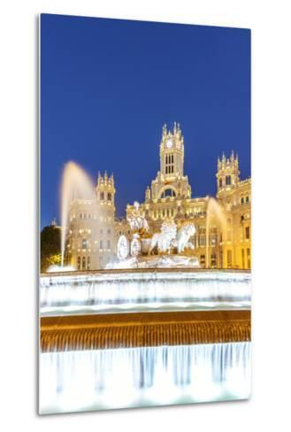 Spain, Madrid. Plaza De Cibeles with Famous Fountain and Town Hall Building Behind-Matteo Colombo-Metal Print