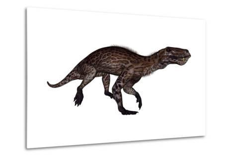 Lycaenops Dinosaur Walking, White Background-Stocktrek Images-Metal Print
