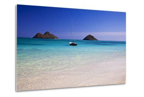 USA, Hawaii, Oahu, Sail Boat at Anchor in Blue Water with Swimmer-Terry Eggers-Metal Print