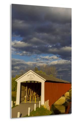 Covered Bridge over the East Fork of the White River, Medora, Indiana-Chuck Haney-Metal Print