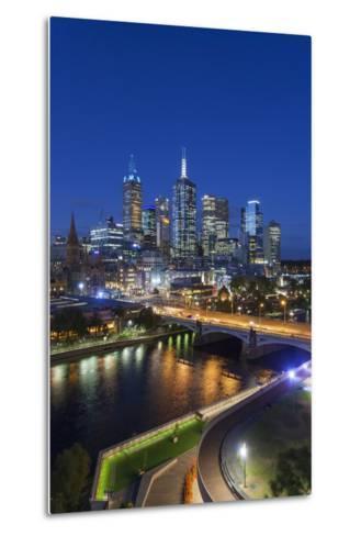Australia, Victoria, Melbourne, Skyline with River and Bridge at Dusk-Walter Bibikow-Metal Print