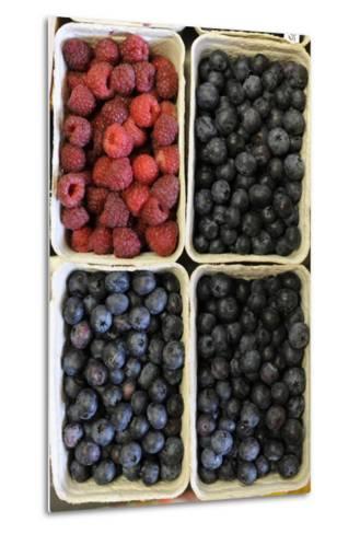 Organic, Blueberries and Raspberries--Metal Print