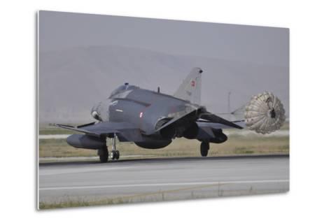 A Turkish Air Force F-4E 2020 Terminator Deploys its Drag Chute Upon Landing-Stocktrek Images-Metal Print